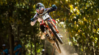 Danny Hart in mountain bike downhill action
