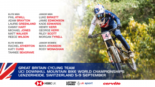 GBCT team for the 2018 UCI Downhill Mountain Bike World Championships in Lenzerheide, Switzerland.