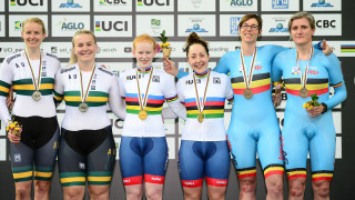 Sophie Thornhill and Helen Scott on the podium in the World Champions jersey at the 2018 UCI Para-Cycling Track World Championships in Rio, Brazil.