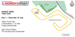 British Cycling Women's Road Series Essex Giro 2-day course map day one