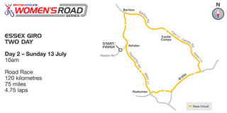 British Cycling Women's Road Series Essex Giro 2-day course map day two