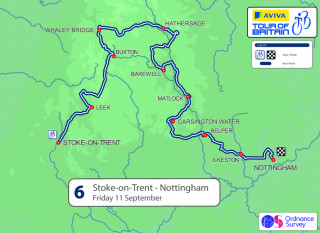 2015 Tour of Britain stage six map