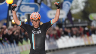 Tom Scully (Madison Genesis) celebrating his win at round one of the 2015 Pearl Izumi Tour Series in Ryde, Isle of Wight.