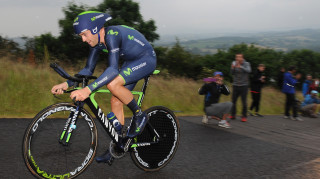 Alex Dowsett on his way to bronze in the time trial at the 2014 British Cycling National Road Championships.