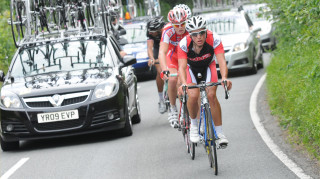 Pete Kennaugh leads Chris Froome at the 2008 British Cycling National Road Championships