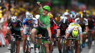 Mark Cavendish loses out in the sprint to Andre Greipel and Peter Sagan