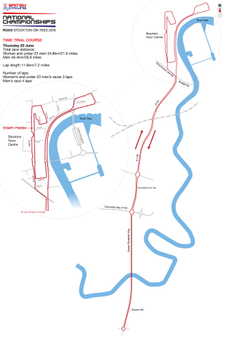Time trial course for 2016 British Cycling National Road Championships