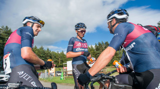 Ian Bibby relaxes post-race at the Tour of the Reservoir with JLT Condor teammates Russ Downing and Tom Moses