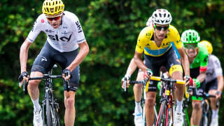 Chris Froome and Fabio Aru at the 2017 Tour de France