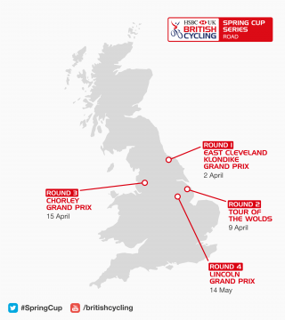 Overview map of the 2017 HSBC UK | Spring Cup Series