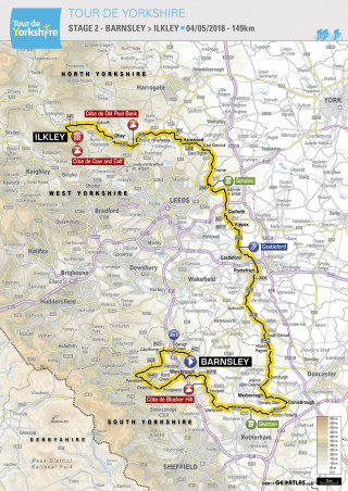 2018 Tour de Yorkshire stage two map