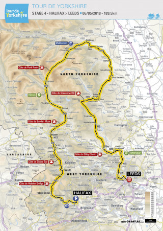 2018 Tour de Yorkshire stage four map
