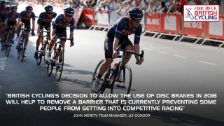 John Herety quote on use of disc brakes