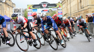 The group goes round the Bath city centre Tour Series circuit