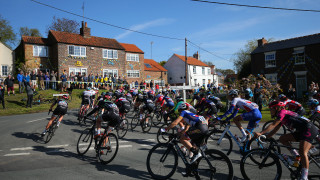 The peloton passes through Cottingham on day one of the women's Tour de Yorkshire