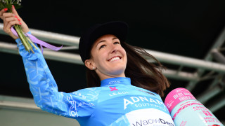 Dani Rowe wins the Adnams Best British Rider at Stage 1 of the OVO Energy Women's Tour 2018 in Southwold.