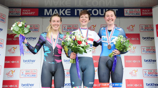 Women's Podium for the time trials at the 2017 HSBC UK National Road Championships.
