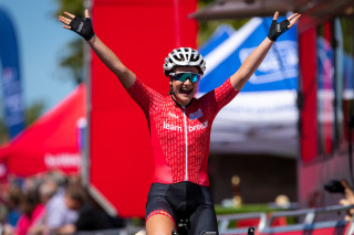 Jess Roberts winning at the National Road Championships