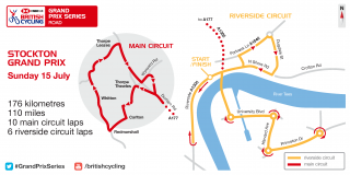 Map of Stockton Men's Grand Prix Series on Sunday 15 July.