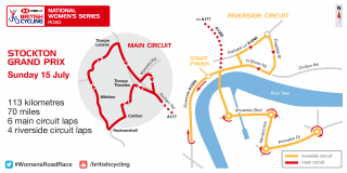 Map of Stockton Women's Road Series on Sunday 15 July.