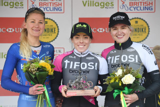 Joscelin Lowden, Anna Henderson and Leah Dixon (left to right) on the podium at the 2019 East Cleveland Klondie GP.