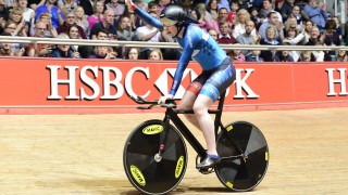 Katie Archibald celebrates becoming national individual pursuit champion at the 2017 HSBC UK | National Track Championships