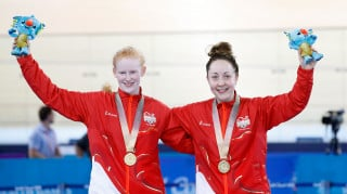 Team England's Sophie Thornhill and Helen Scott celebrate winning B sprint gold at the Commonwealth Games in Australia