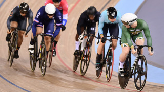 Jack Carlin riding in the Keirin at the Track World Cup in London.