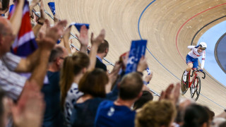Laura Kenny celebrating after winning at the Track World Cup in London.