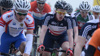 Great Britain junior Matt Gibson on the podium at Pearl Izumi Tour Series in Barrow