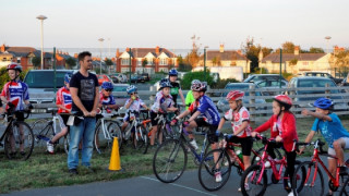TV presenter surprises children at a Blackpool cycling club
