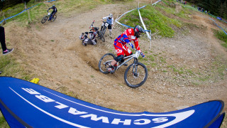 Megan Wherry and Lewis Lacey winners at round two of British Cycling MTB Four Cross Series