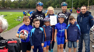 Geraint Thomas and Owain Doull present Clubmark Accreditation to Whitchurch Cycling Club