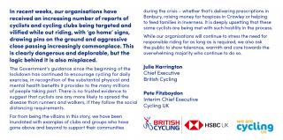 British Cycling s'est associée à Cycling UK pour publier une lettre ouverte.