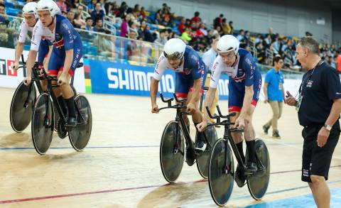 Great Britain Cycling Team's Andy Tennant leads off the team pursuit