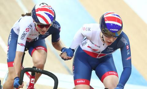 Great Britain Cycling Team's Emily Nelson and Elinor Barker compete in the Madison