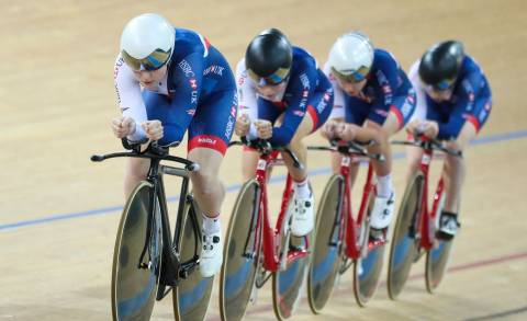 Great Britain Cycling Team's Emily Kay, with teammates Ellie Dickinson, Manon Lloyd and Emily Nelson
