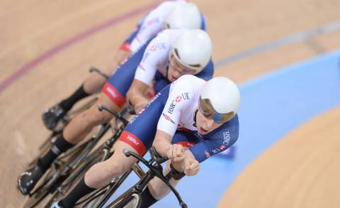 Great Britain Cycling Team's Mark Stewart leads the British team pursuit effort