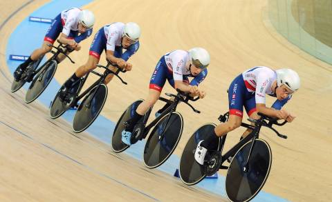 Great Britain Cycling Team's Ollie Wood leads off the team pursuit effort