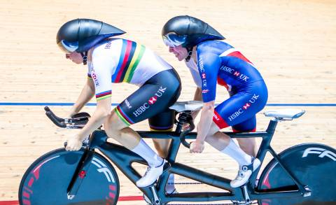 Great Britain Cycling Team's Corrine Hall and Lora Fachie