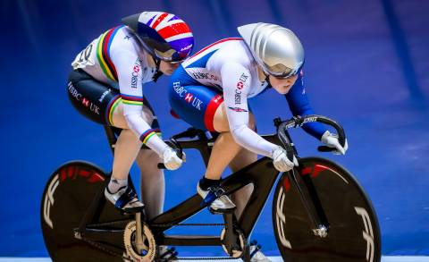 Great Britain Cycling Team's Helen Scott, piloting Sophie Thornhill