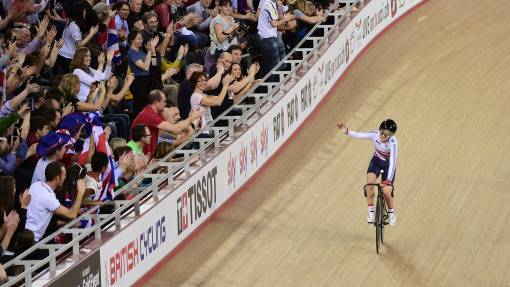 Laura Trott takes the applause after winning omnium gold at the London UCI Track Cycling World Cup