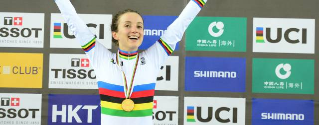Barker wins gold in epic points race at UCI Track Cycling World Championships