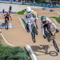 Great Britain BMXers in action at the UCI BMX Supercross World Cup Opener