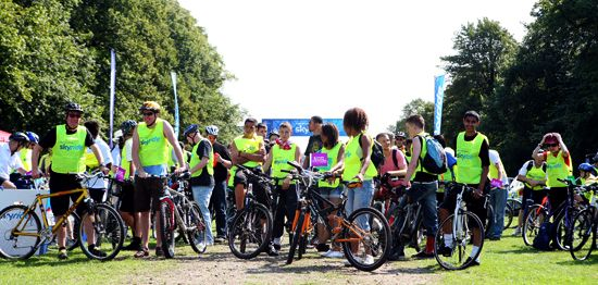 Cyclists get ready for a Skyride
