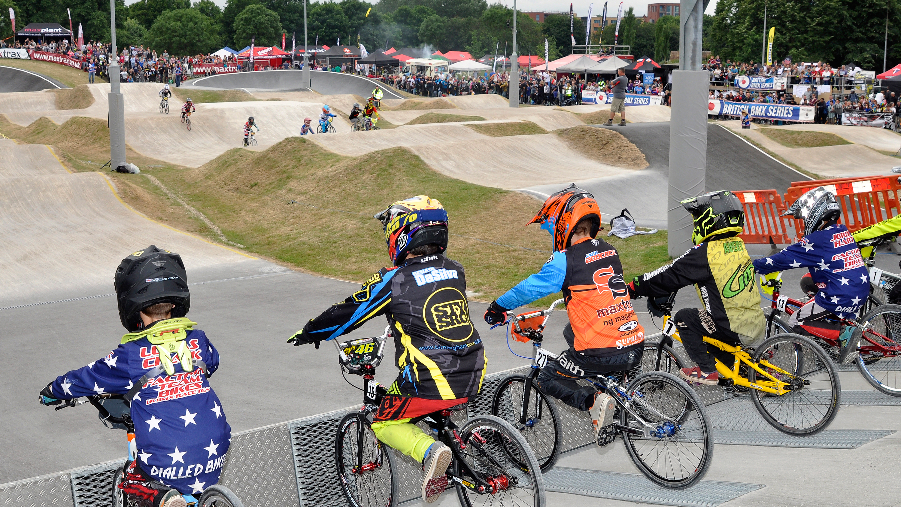 BMX riders wait to start at Peckham track