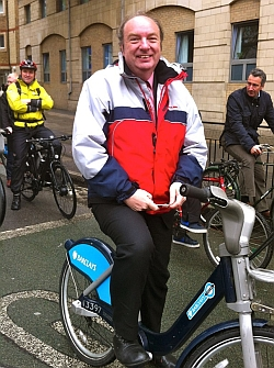 Transport Minister Norman Baker at the 2012 All Party Parliamentary Cycling Group ride