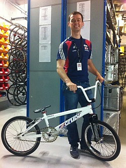 Dave Parsons, Great Britain Cycling Team Purchasing and Equipment Manager, with his BMX commuting bike!