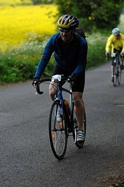 Cycle commuter Andrew Pert taking part in a cyclosportive