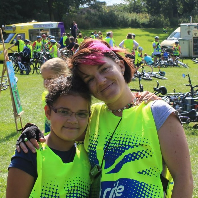 Rachel Biddles and her daughter at recent Sky Ride event